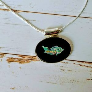 Fire Opal & Onyx Sterling Fish Pendent